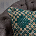 "Lance Thompson Indoor Boho Water Resistant 18"" Throw Pillow, Beige and Teal"
