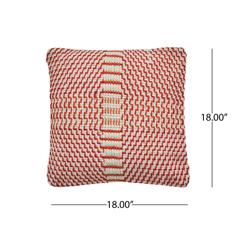 "Bess Indoor Boho Water Resistant 18"" Throw Pillow, Red and Orange"