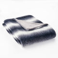 Tuscan Faux Fur Throw Blanket, Black with White Stripes