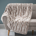 Louise Glam Fuzzy Fabric Throw Blanket, Patterned Light Brown