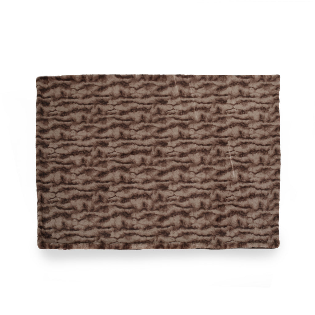 Belle Glam Fuzzy Fabric Throw Blanket, Light Brown