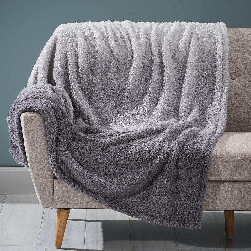 Morgan Modern Sherpa Throw Blanket, Gray and White