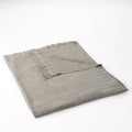 Daisy Contemporary Cotton Throw Blanket with Fringes, Gray