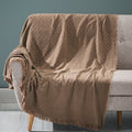 Kyra Contemporary Cotton Throw Blanket with Fringes, Brown