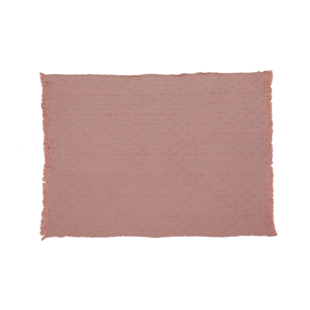 Avery Contemporary Cotton Throw Blanket with Fringes, Dusty Pink