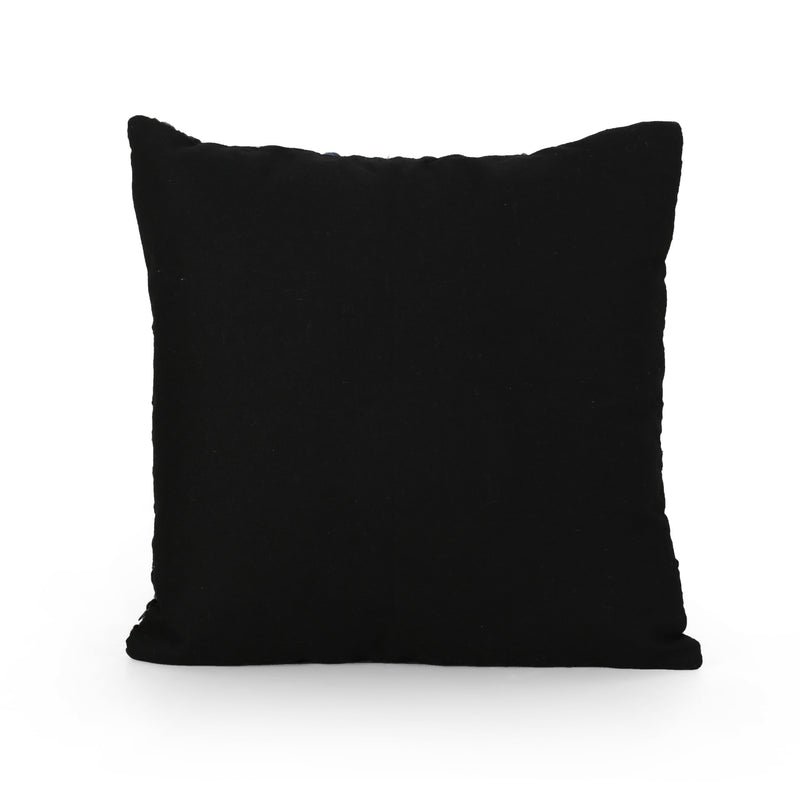 Anemone Modern Fabric Throw Pillow Cover (No Filling), Black and Gray