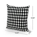 Kaitlyn Modern Fabric Throw Pillow Cover (No Filling) (Set of 2), Black and White Checkerboard
