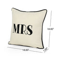 "Laraine Modern Fabric ""MRS"" Throw Pillow Cover (No Filling), White and Black"