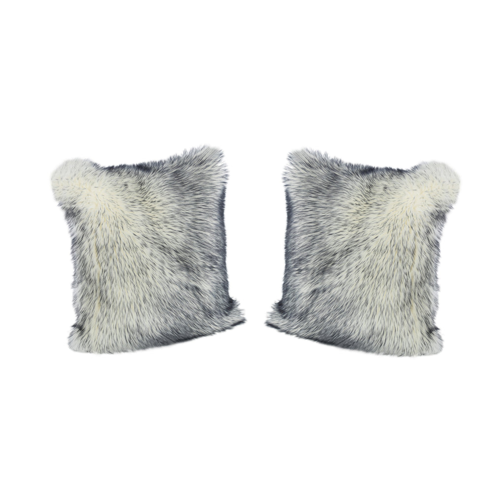 Janet Glam Faux Fur Long Hair Pillow Cover Only (Set of 2), Navy and White