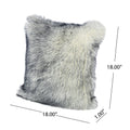 Fern Glam Faux Fur Long Hair Pillows (Set of 2), Navy and White
