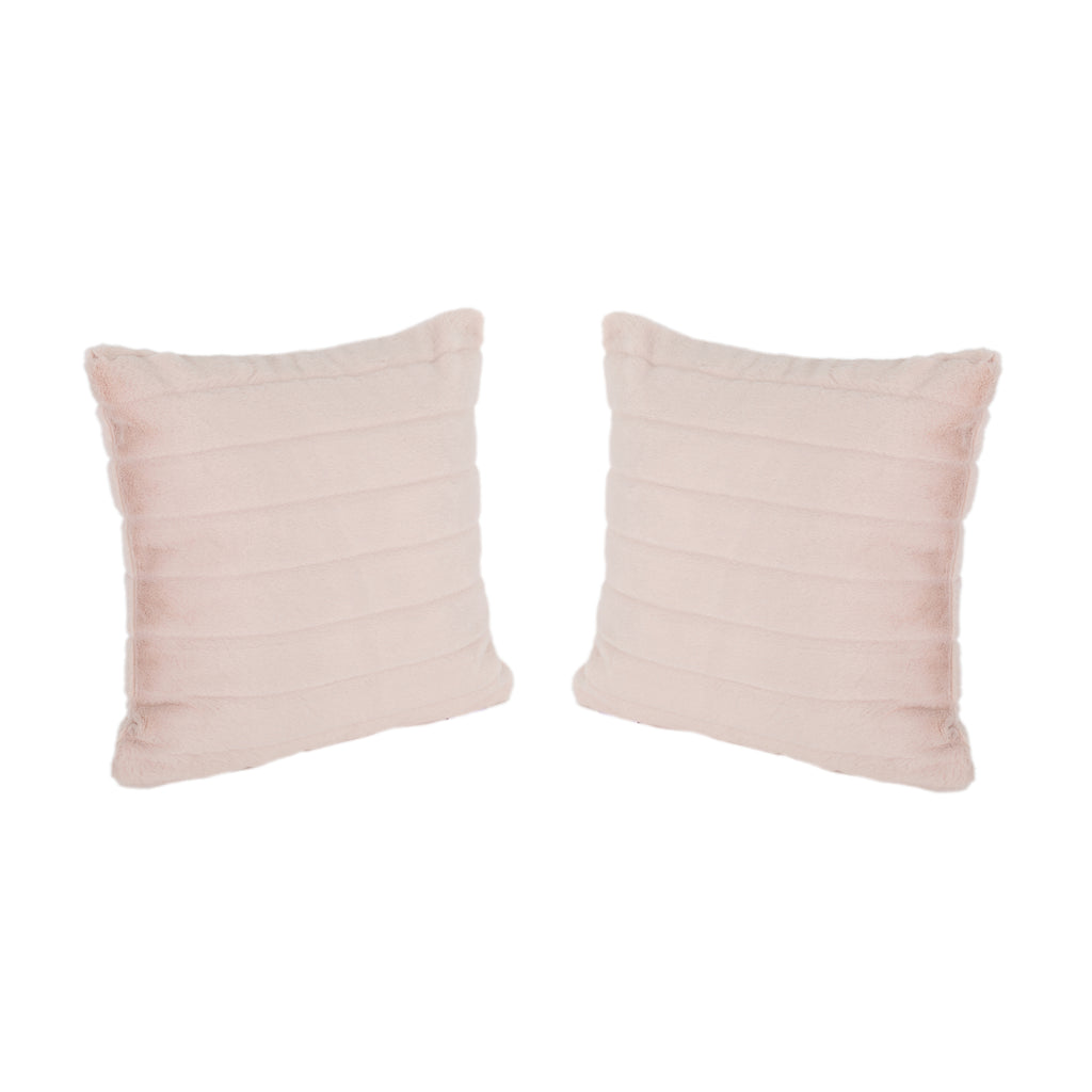Bunny Glam Faux Fur Short Hair Pillows (Set of 2), Rose