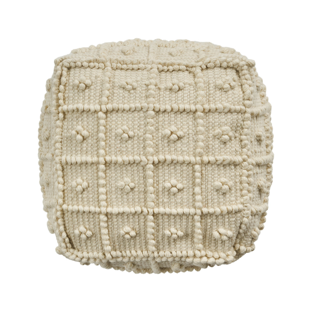 Dinah Boho Wool and Cotton Ottoman Pouf, Ivory
