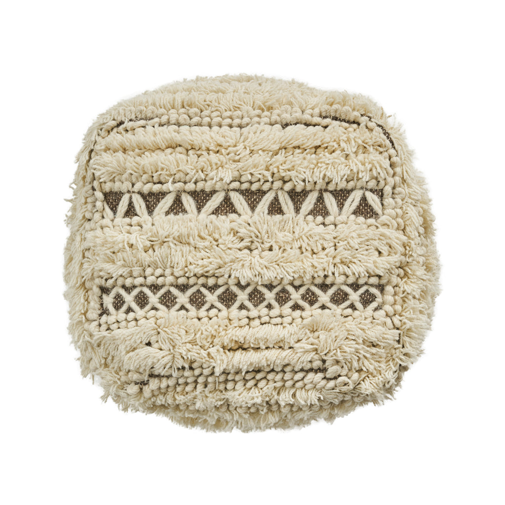 Mamie Boho Wool and Cotton Ottoman Pouf