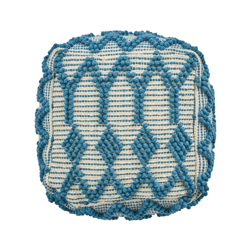 Jessie Boho Wool and Cotton Ottoman Pouf, Teal and White