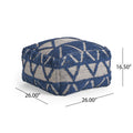 Ellen Boho Wool and Cotton Ottoman Pouf, Blue and White