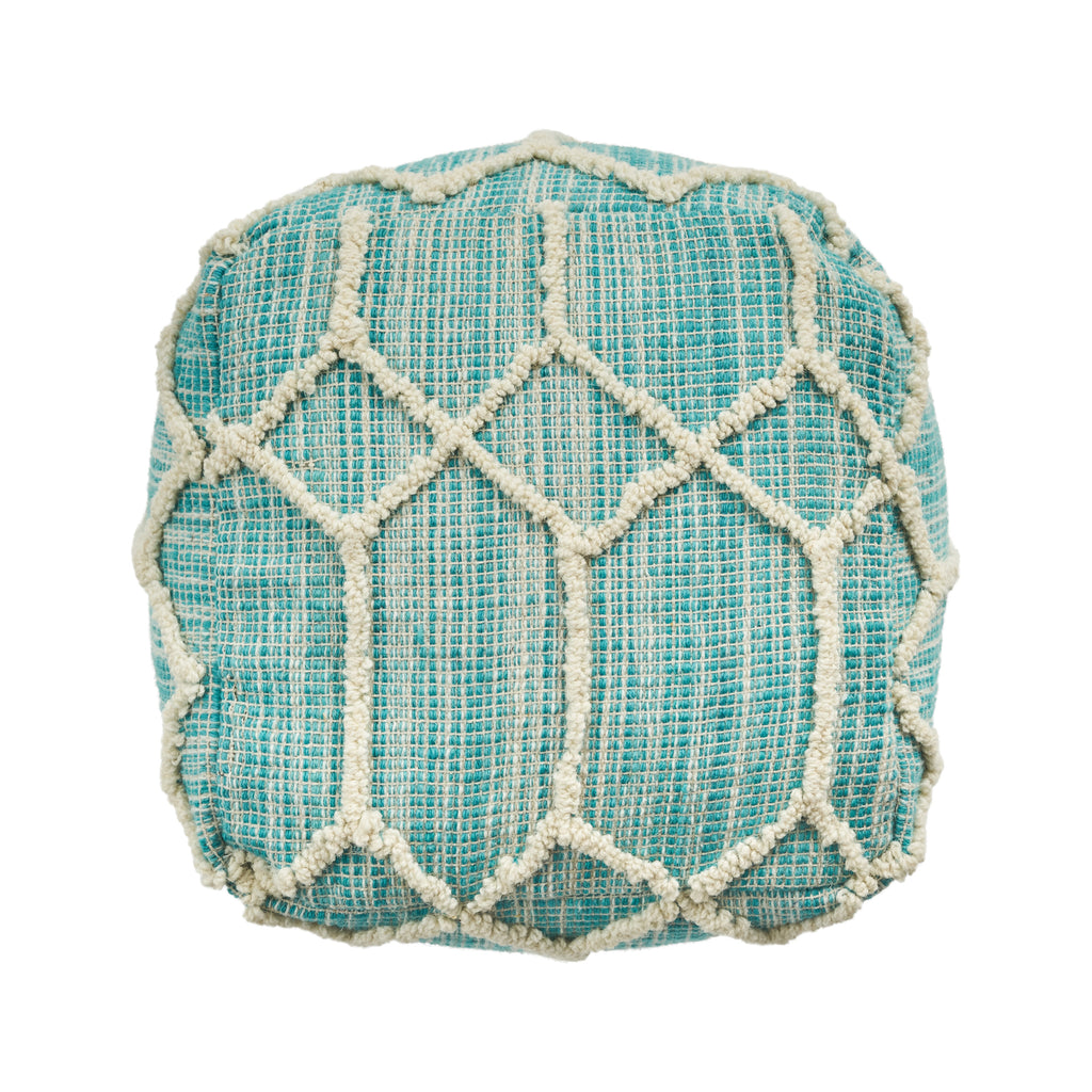 Martha Boho Wool and Cotton Ottoman Pouf