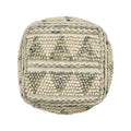 Spring Boho Wool and Cotton Ottoman Pouf