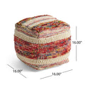Ivy Boho Wool and Cotton Ottoman Pouf