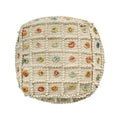Jocelyn Boho Wool and Cotton Ottoman Pouf, White and Multicolored