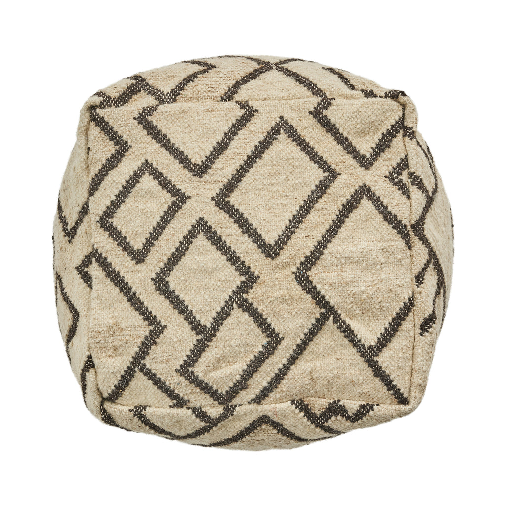 Edith Boho Wool and Cotton Ottoman Pouf