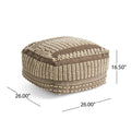 Hellen Boho Wool and Cotton Ottoman Pouf, Gray and White