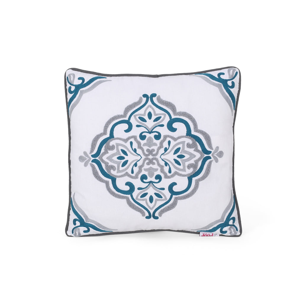 Vanessa Modern Fabric Throw Pillow Cover, Blue and Beige