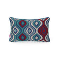 Sandra Modern Fabric Throw Pillow Cover, Dark Teal and Wine Red