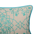 Maggie Fabric Pillow Cover, Teal and Natural