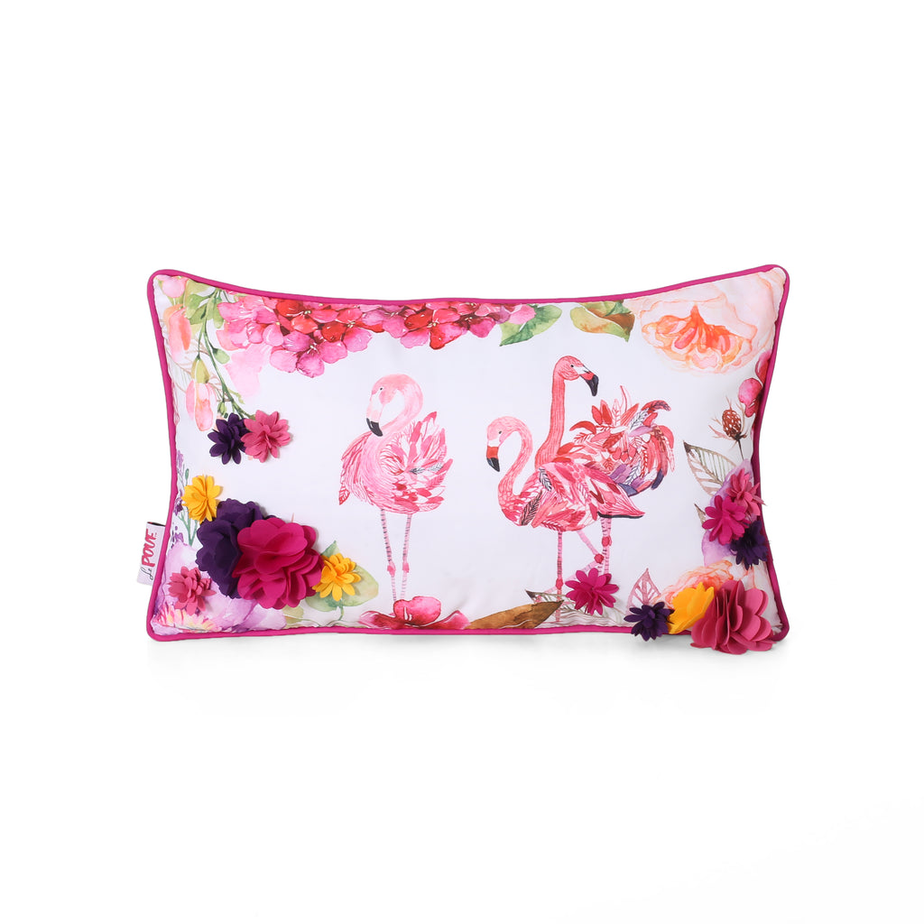 Beryl Modern Pillow Cover, Flamingos on Multicolor Floral
