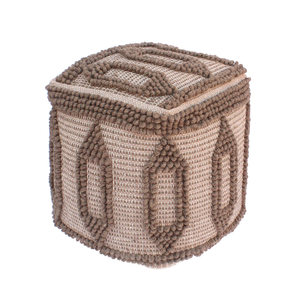 Frieda Contemporary Wool and Cotton Pouf Ottoman, Taupe