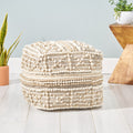 Ishara Contemporary Wool and Cotton Pouf Ottoman