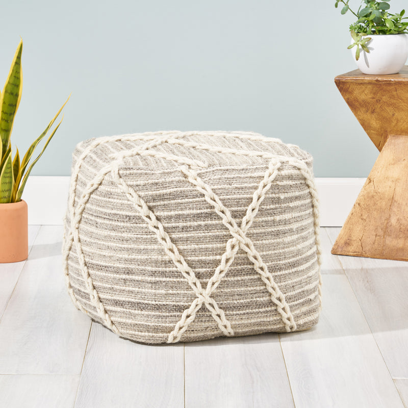 Jean Contemporary Wool and Cotton Pouf Ottoman, Gray and Ivory