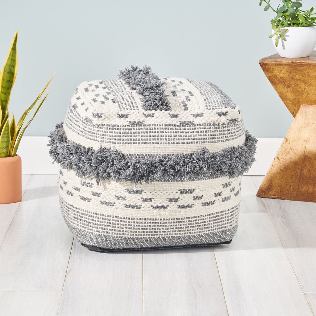 Laura Contemporary Faux Yarn Pouf Ottoman Ivory And Gray