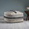 Laura Contemporary Faux Yarn Pouf Ottoman, Ivory and Gray