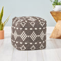 Victoria Contemporary Wool and Cotton Pouf Ottoman, White and Charcoal