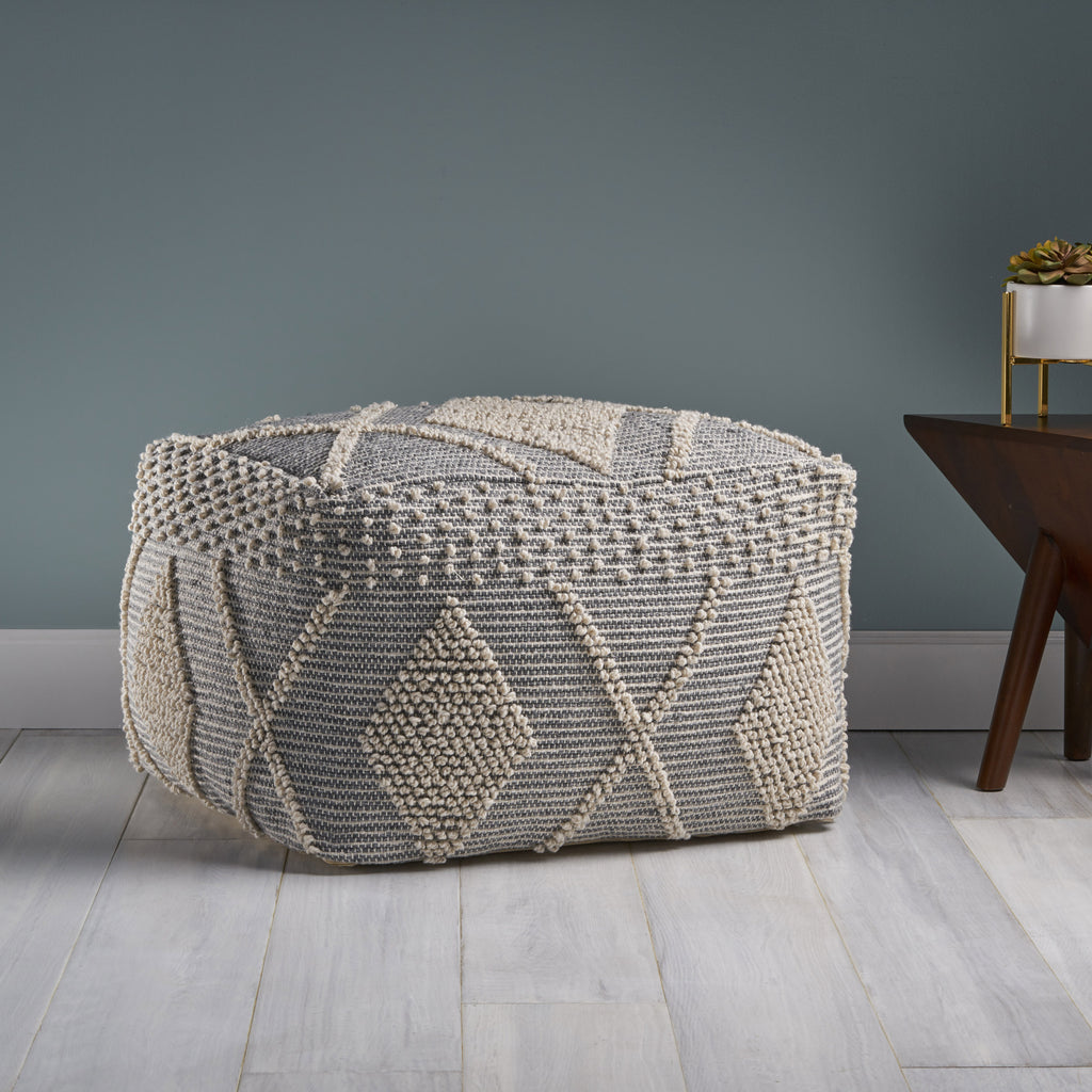 Winnie Contemporary Faux Yarn Pouf Ottoman Ivory And Gray