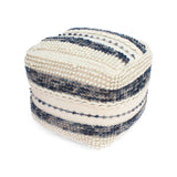 Christal Contemporary Wool and Cotton Pouf Ottoman, White and Blue