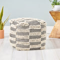 Tess Contemporary Wool and Cotton Pouf Ottoman, White and Black