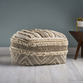 Annabelle Contemporary Wool and Cotton Pouf Ottoman, Natural and White