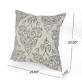 Abigail Modern Fabric Throw Pillow Cover (No Filling) (Set of 2), Natural and Gray