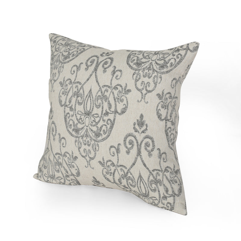 Katherine Modern Fabric Throw Pillow, Natural and Gray