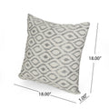 Doris Modern Fabric Throw Pillow Cover (No Filling), Gray and Natural