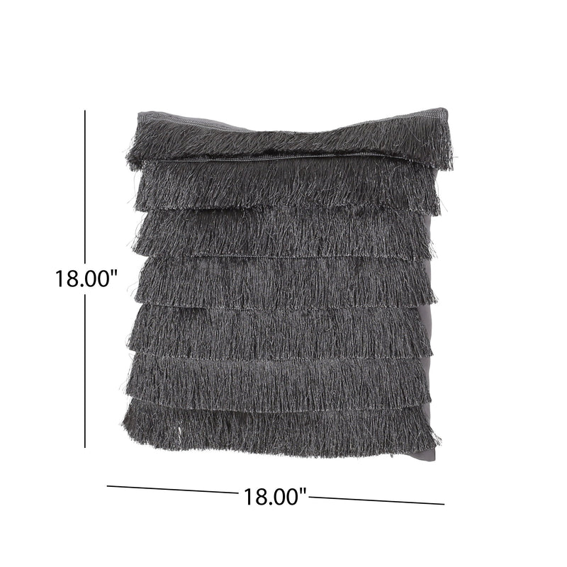 Elvira Glam Square Fabric Throw Pillow with Fringes
