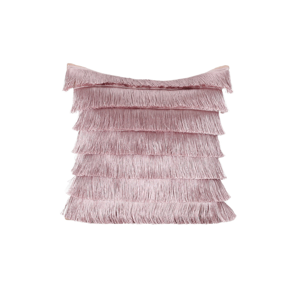 Elvira Glam Square Fabric Pillow Cover with Fringes