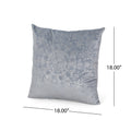 Marcia Modern Square Fabric Pillow Cover, Light Gray