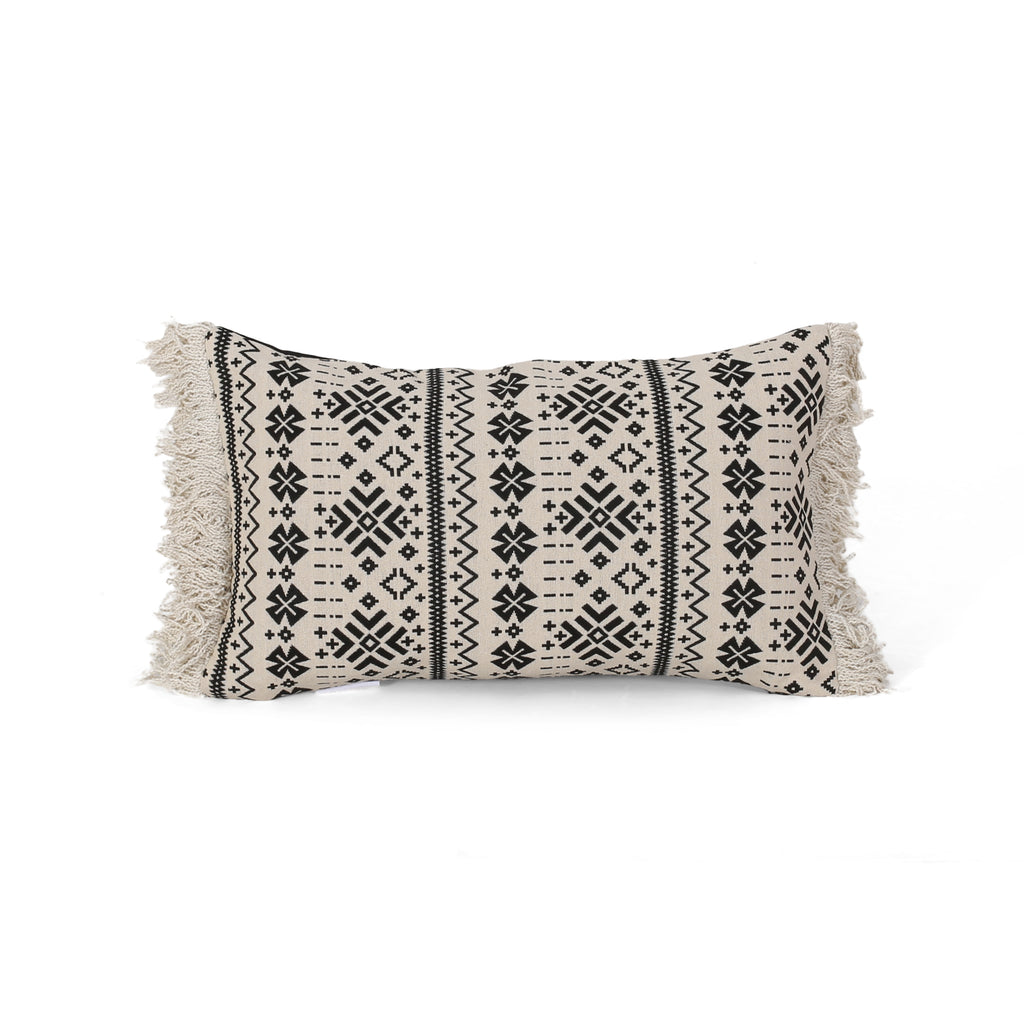 Helen Modern Rectangular Fabric Pillow Cover, Beige and Black