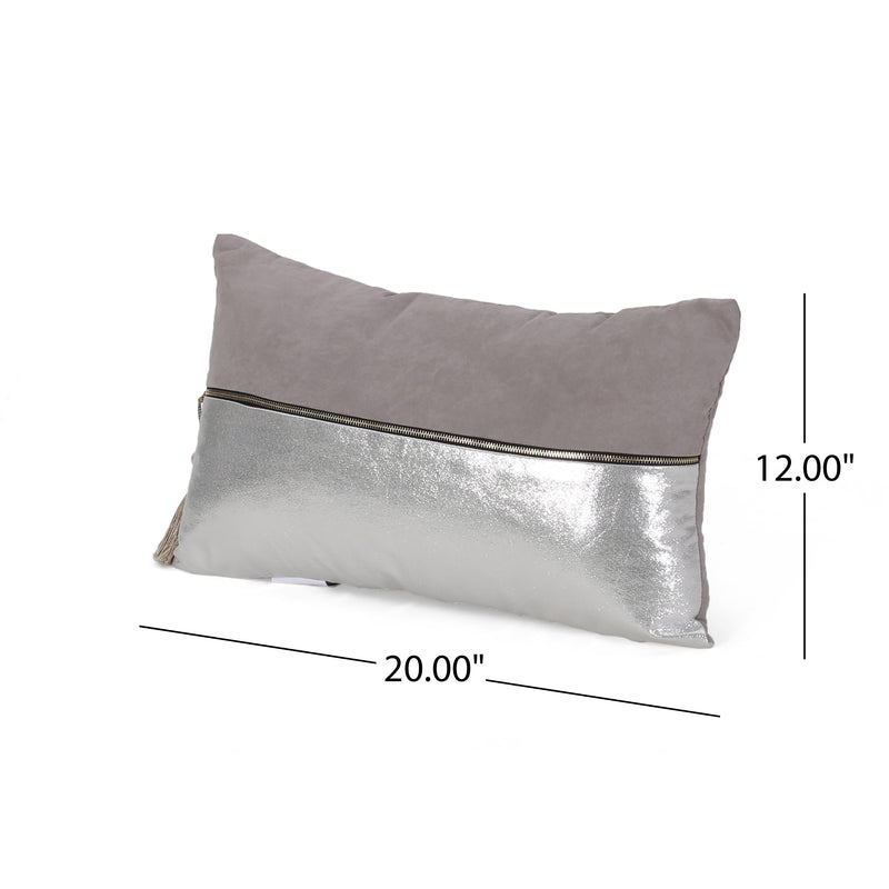 Evelyn Modern Rectangular Fabric Pillow Cover, Silver and Gray