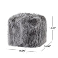 Ingrid Peep Glam Lamb Wool Square Pouf with Filling