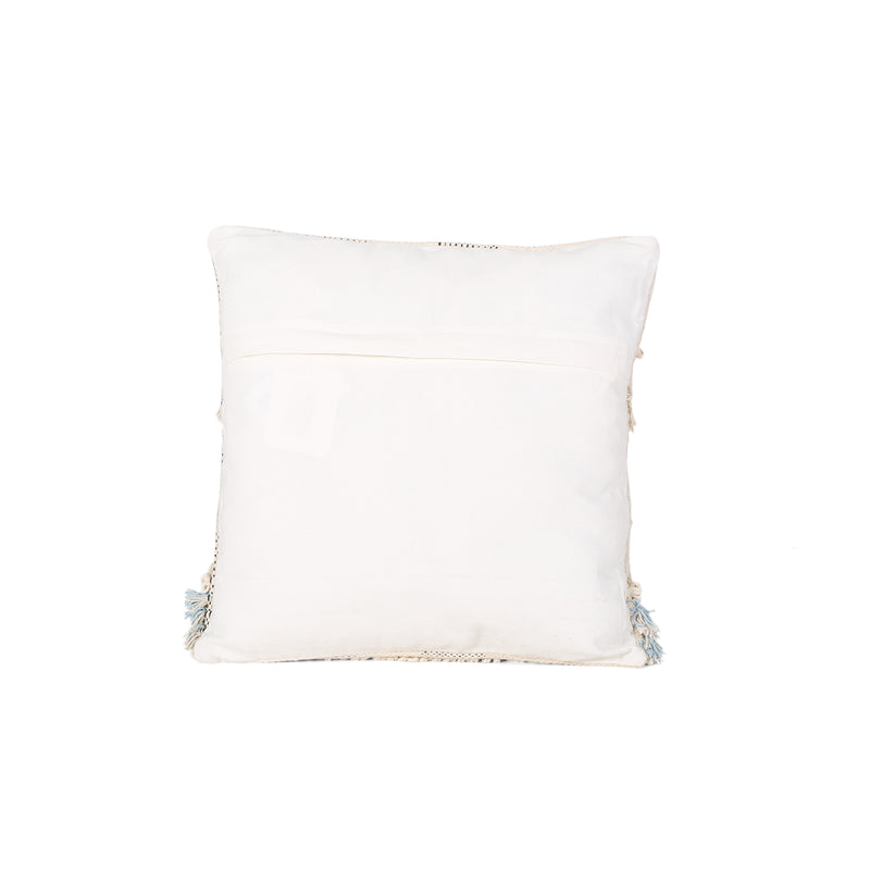Stacy Boho Cotton Pillow Cover, Natural and Light Blue
