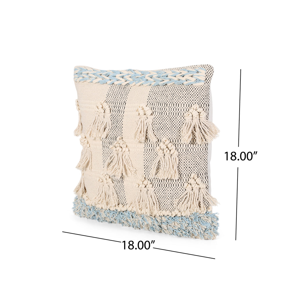 Stacy Boho Cotton Pillow Cover Natural And Light Blue Le Pouf